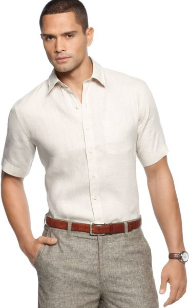 Eci Big And Tall Short Sleeve Linen Shirt In Beige For Men