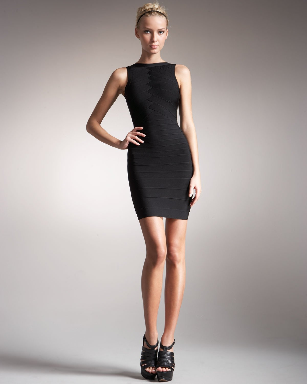 Lyst Herv 233 L 233 Ger Back Cutout Reversible Bandage Dress In