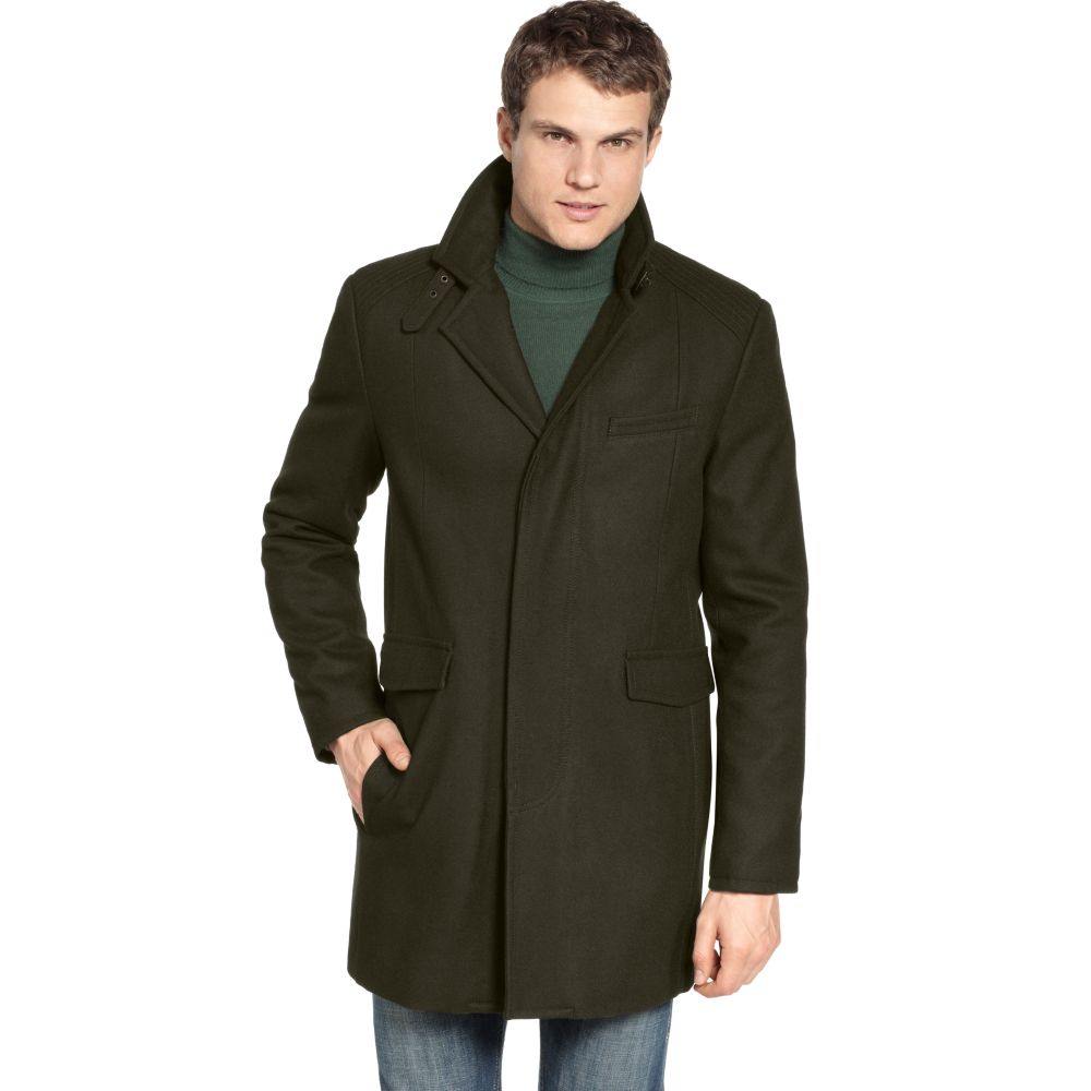 Kenneth cole Wool Melton Walking Coat in Black for Men | Lyst