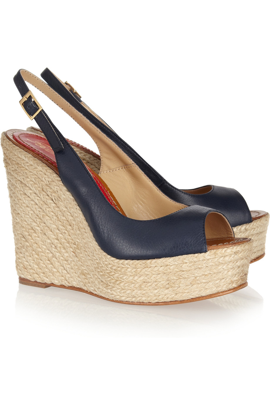 barcel 243 leather espadrille wedge sandals in blue lyst