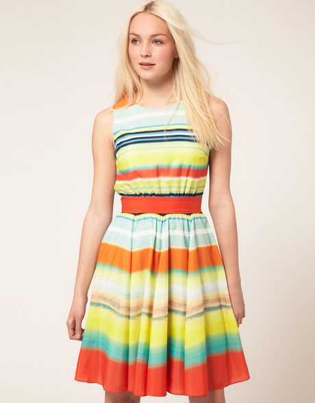 Ted Baker Ted Baker Fit Flare Dress In Stripe Print In