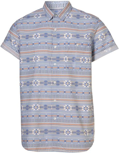 Topman Blue Fairisle Pattern Short Sleeve Shirt in Blue for Men - Lyst