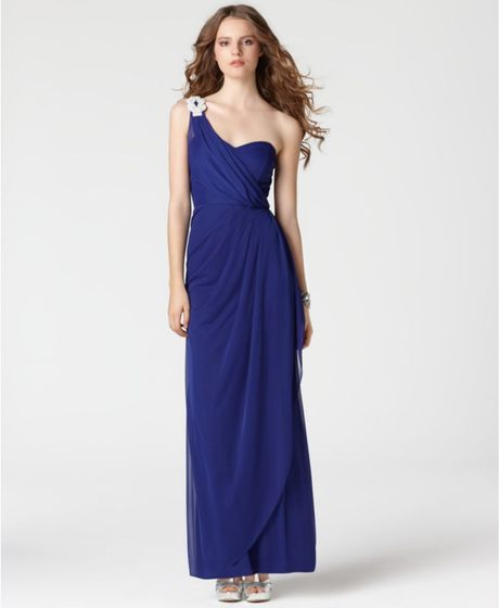 77faf88256e Rhinestone Draped Sweetheart Neck Evening Gown in Blue (royal blue
