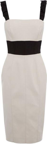 Karen Millen Modern Romantic Tailored Dress in Beige (cream)
