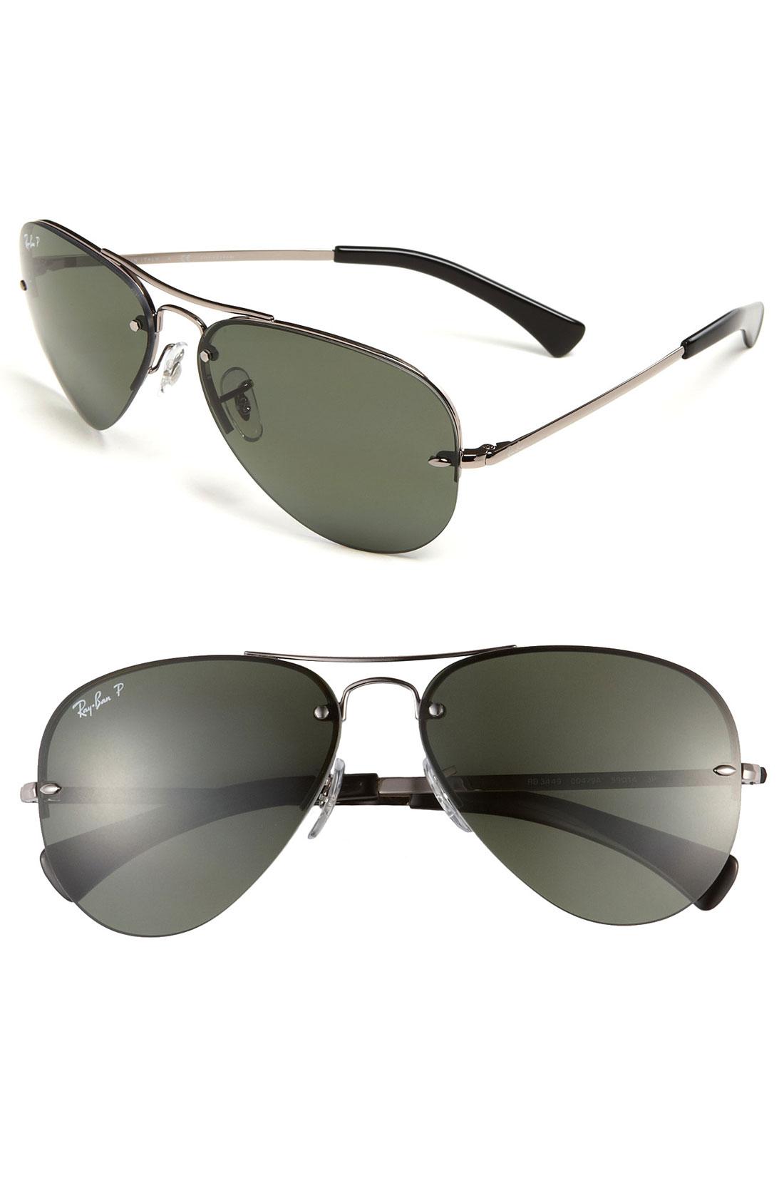 Rimless Aviator Sunglasses : Ray-ban Rimless Aviator Polarized 59mm Sunglasses in ...