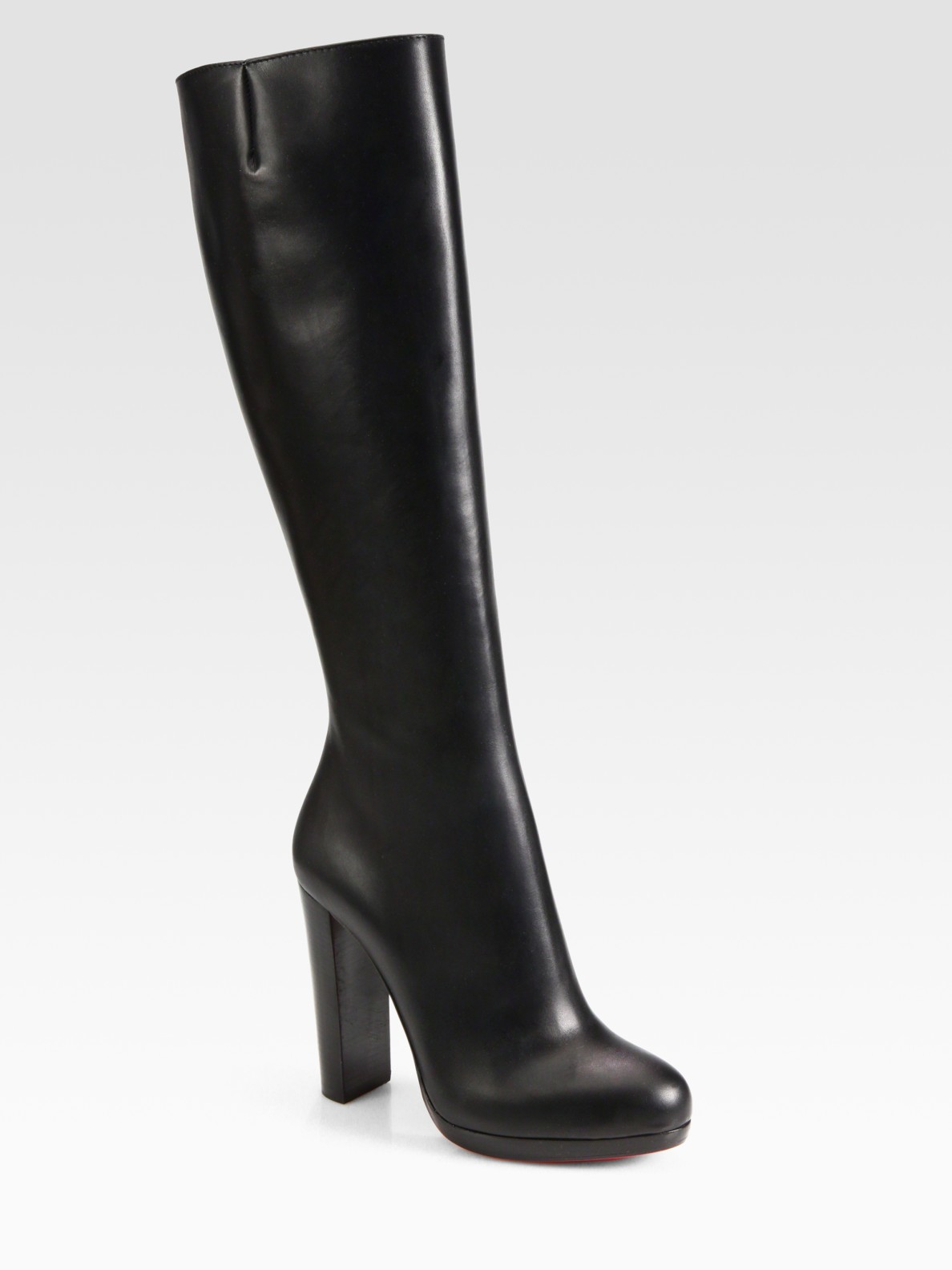 Christian Louboutin Leather Knee High Boots In Black Lyst