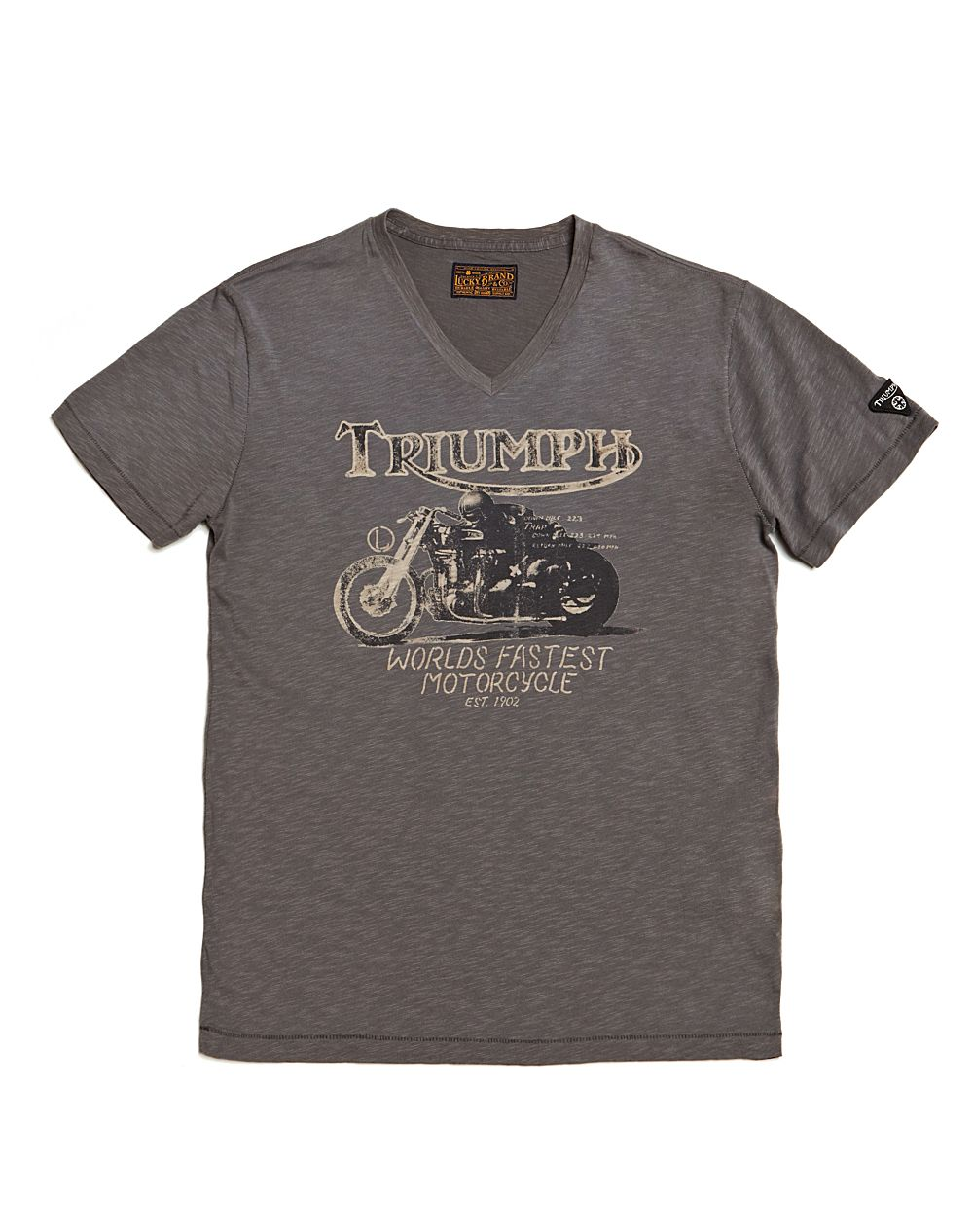 Lucky Brand Triumph Worlds Fastest Motorcycle Vneck Tshirt