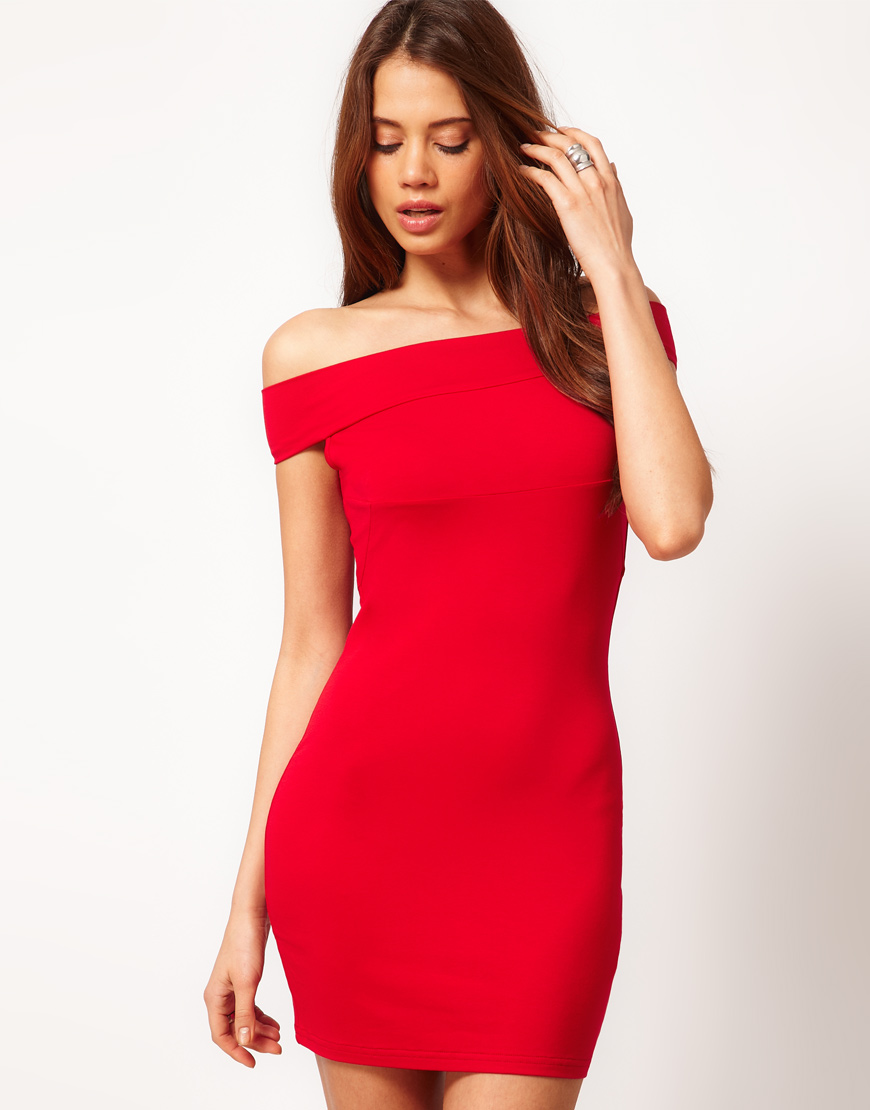 Lyst Asos Asos Bodycon Dress With Off Shoulder In Red