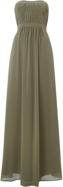 Ariella Strapless Pleat Maxi Dress in Green