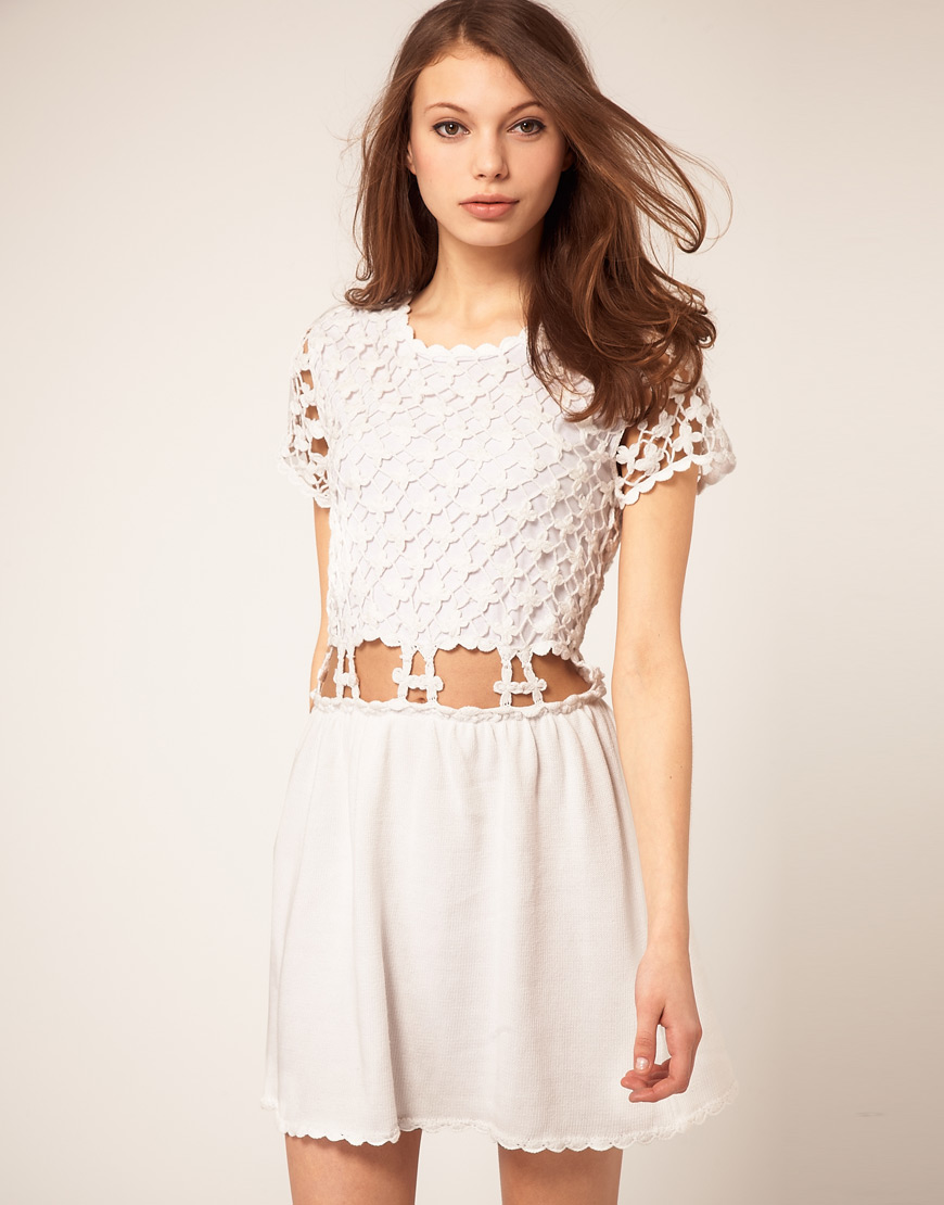 Asos crochet village fit and flare dress in white lyst gallery womens crochet dresses ombrellifo Images