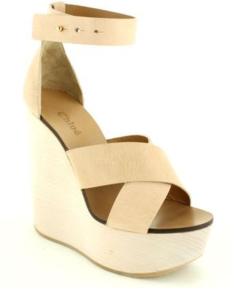 Chloé Wooden Wedge with Ankle Strap - Lyst
