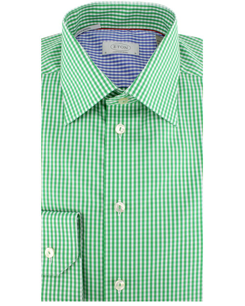 eton of sweden green gingham poplin dress shirt in green