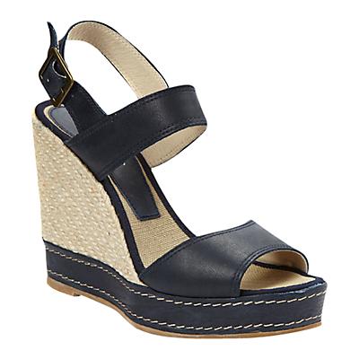 hobbs kara2 leather slingback wedge sandals navy in blue