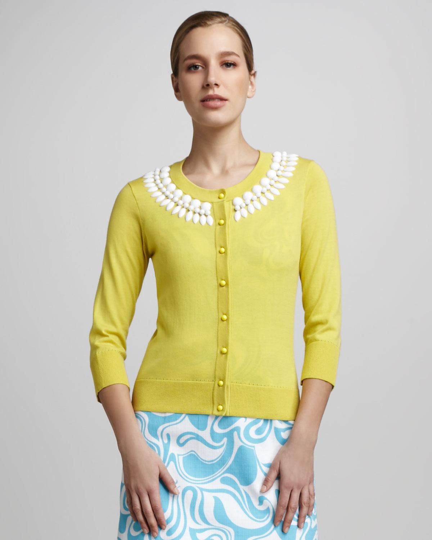 Kate spade new york Kati Beaded Cardigan in Yellow | Lyst