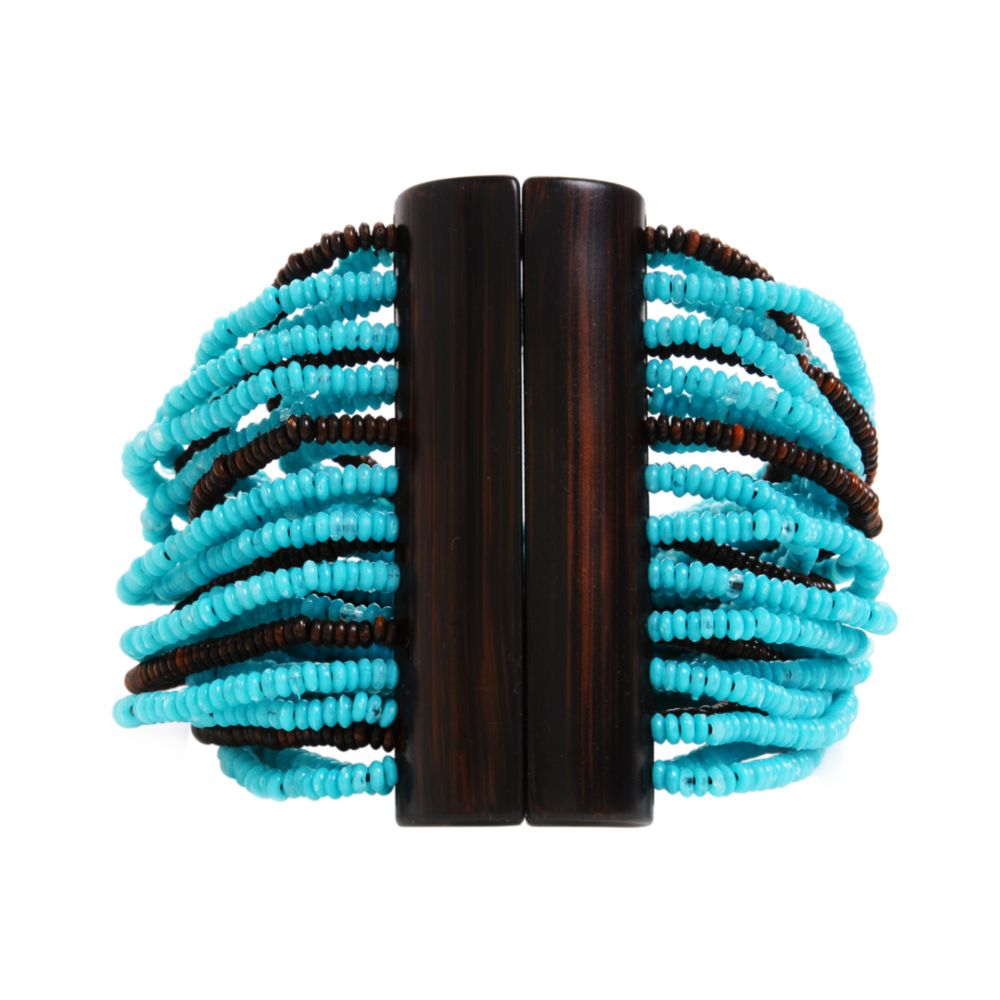 kenneth cole turquoise and brown seed bead multi strand