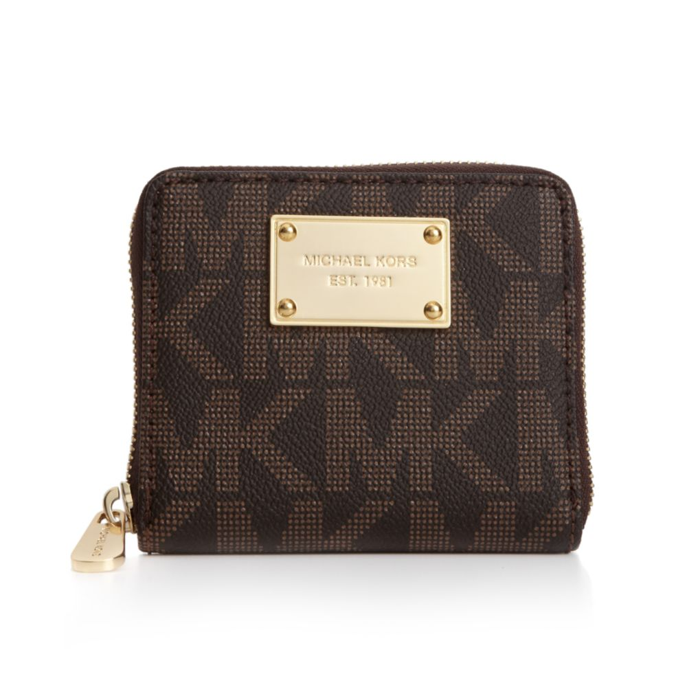 3c5e46170f6f Michael Kors MK Logo Small Zip around Wallet in Brown - Lyst