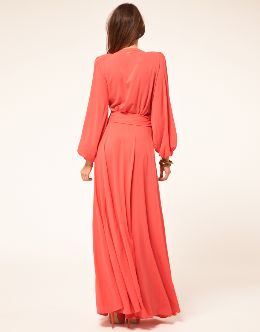 Miss Sixty Miss Sixty Maxi Dress With Sleeves In Coral