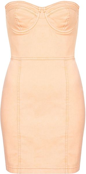 Topshop Denim Cupped Bandeau Dress in Orange (peach)