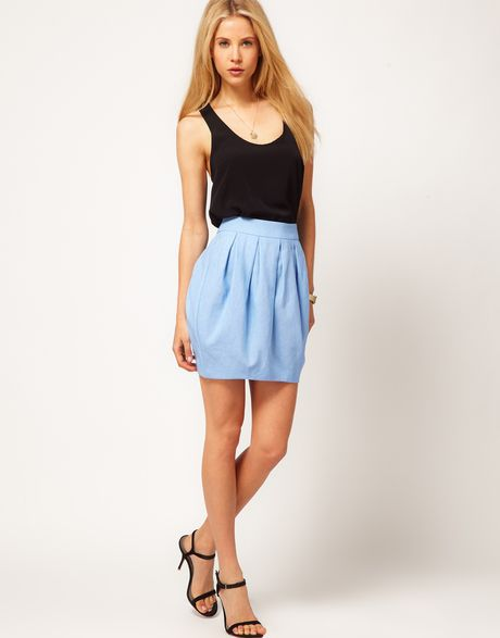 Asos Collection Asos Linen Mini Bell Skirt in Blue (lightblue) - Lyst