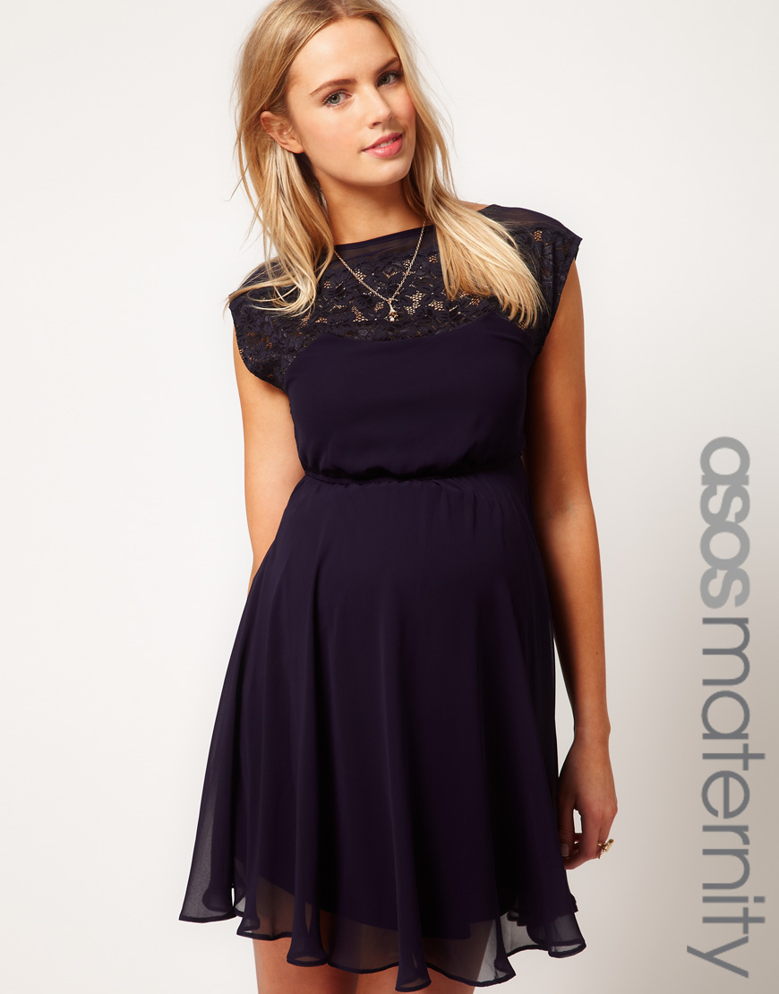 2518f249d96 ASOS Asos Maternity Exclusive Skater Dress with Lace Insert in Black ...