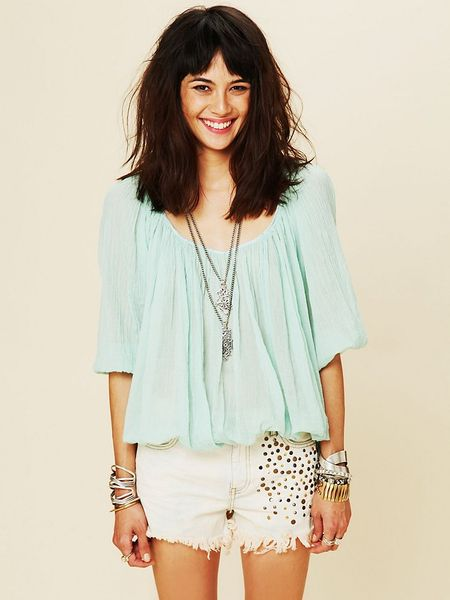 Free People Fp One City Peasant Blouse in Blue (light teal)