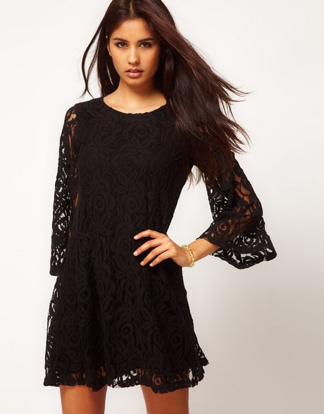 John Zack  Lace Swing Babydoll Dress in Black (alexablack)