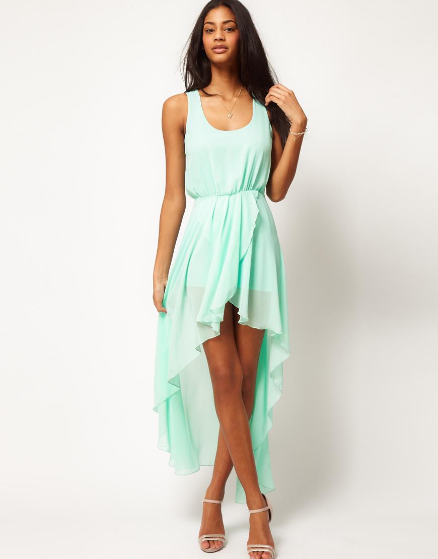 Love Chiffon Wrap Hi Lo Dress In Green Mint Lyst