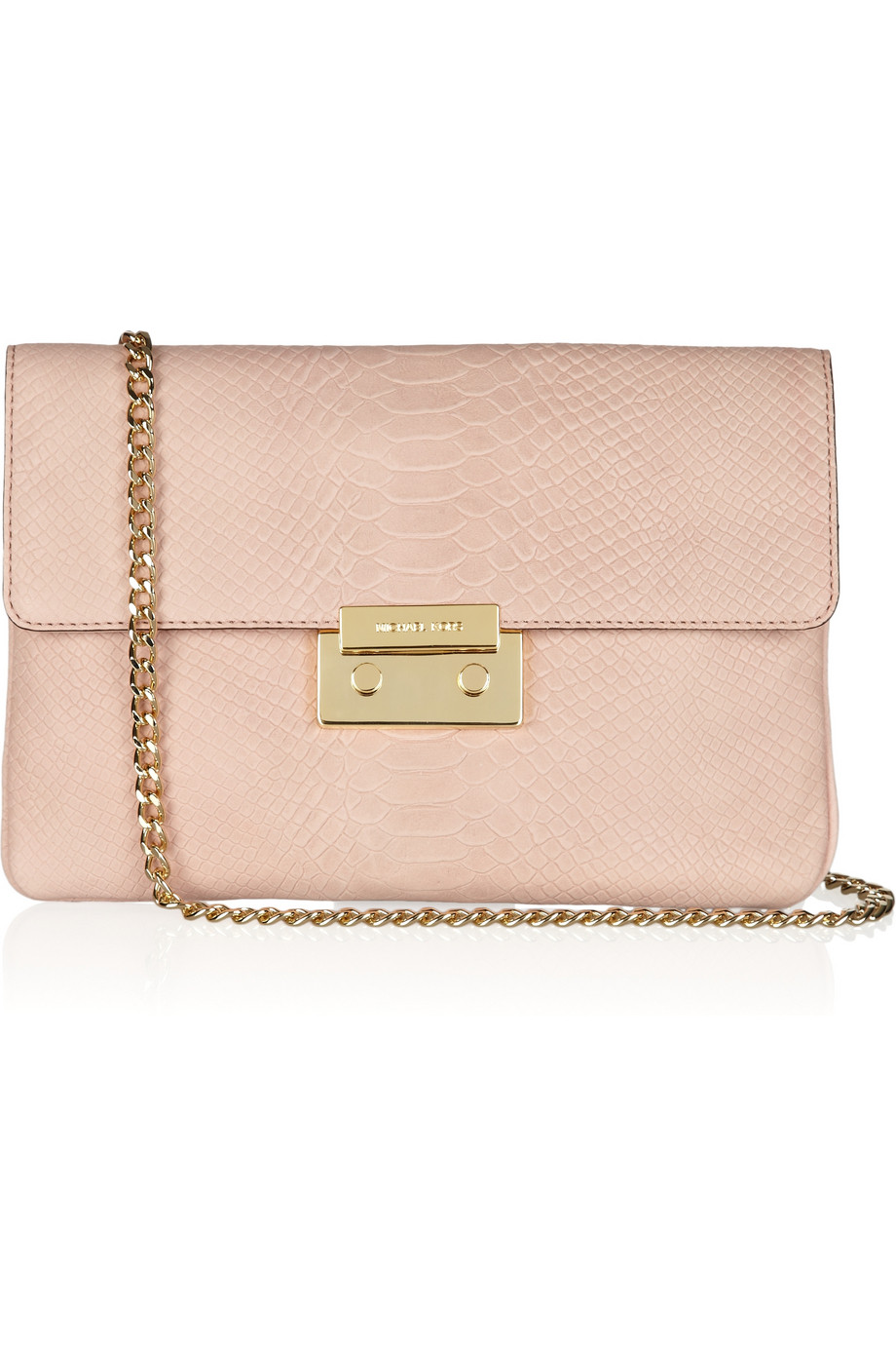 michael michael kors sloan python effect leather clutch in pink blush lyst. Black Bedroom Furniture Sets. Home Design Ideas