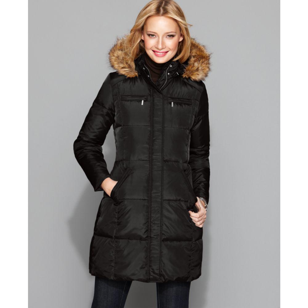 michael michael kors black quilted faux fur trim hooded down coat in black lyst. Black Bedroom Furniture Sets. Home Design Ideas