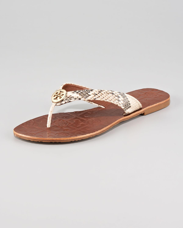 1c1e8195cd85 Tory Burch Thora Snake print Thong Sandal in Metallic - Lyst