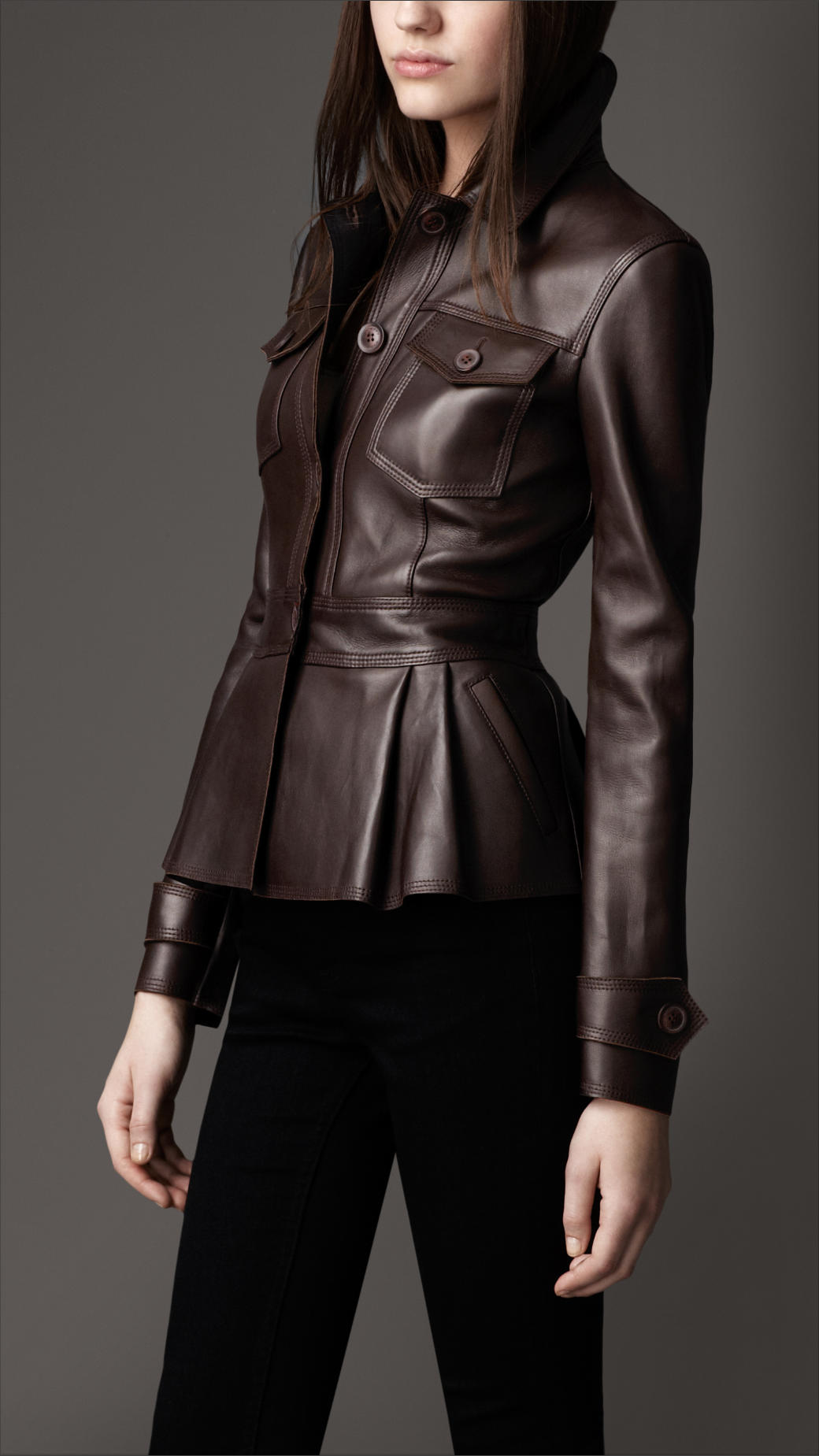 Lyst Burberry Peplum Waist Leather Jacket In Black