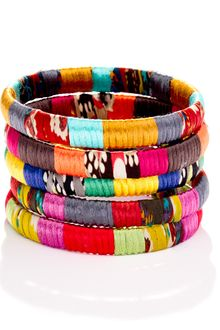 Cara Accessories Cara Accessories Mixedfabric Bangle - Lyst
