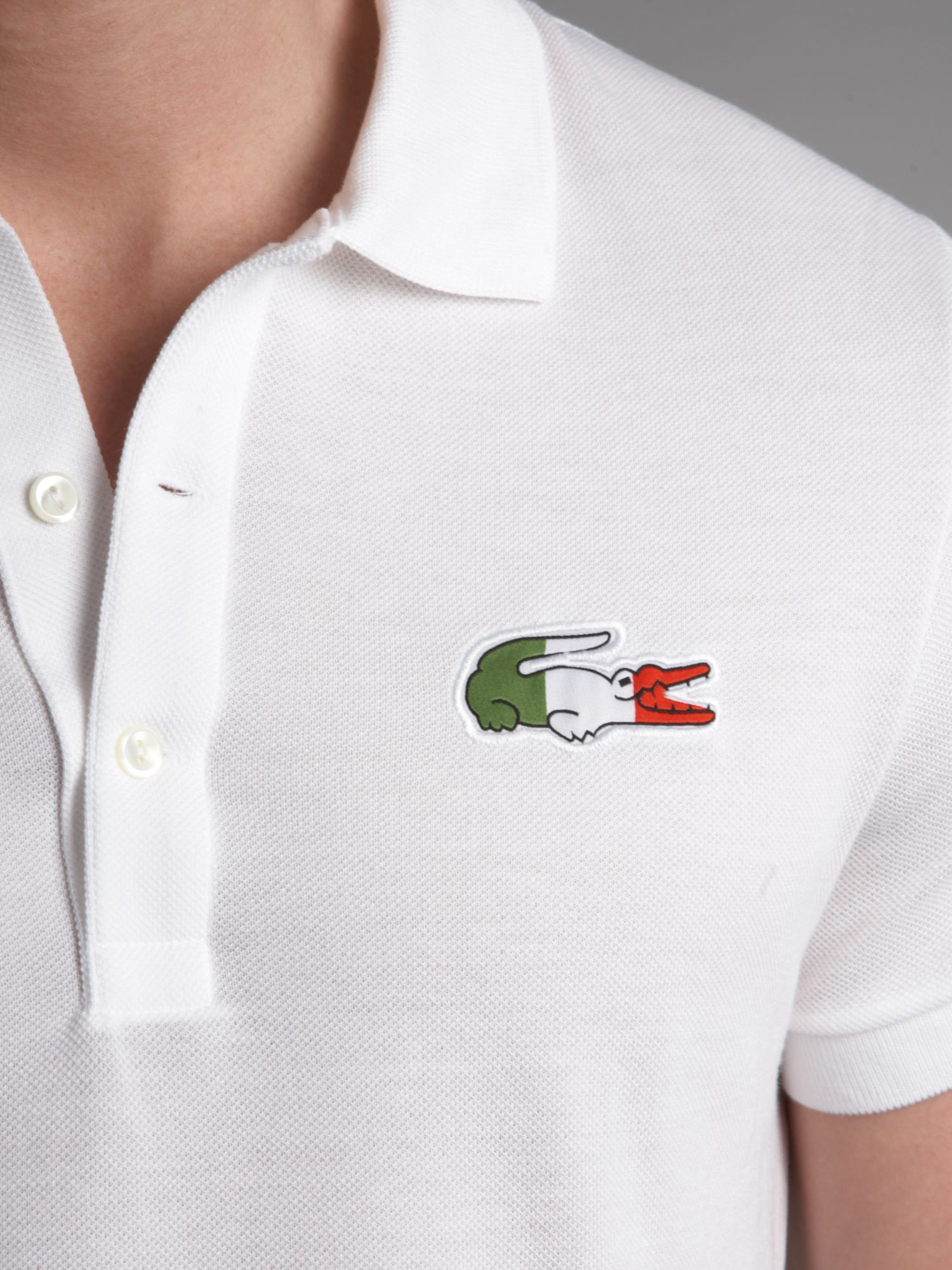 Lacoste slim fit italy croc polo shirt in white for men lyst for Lacoste poloshirt weiay