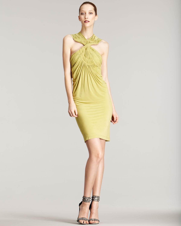 Donna karan new york cross neck jersey dress in yellow for Donna karan new york