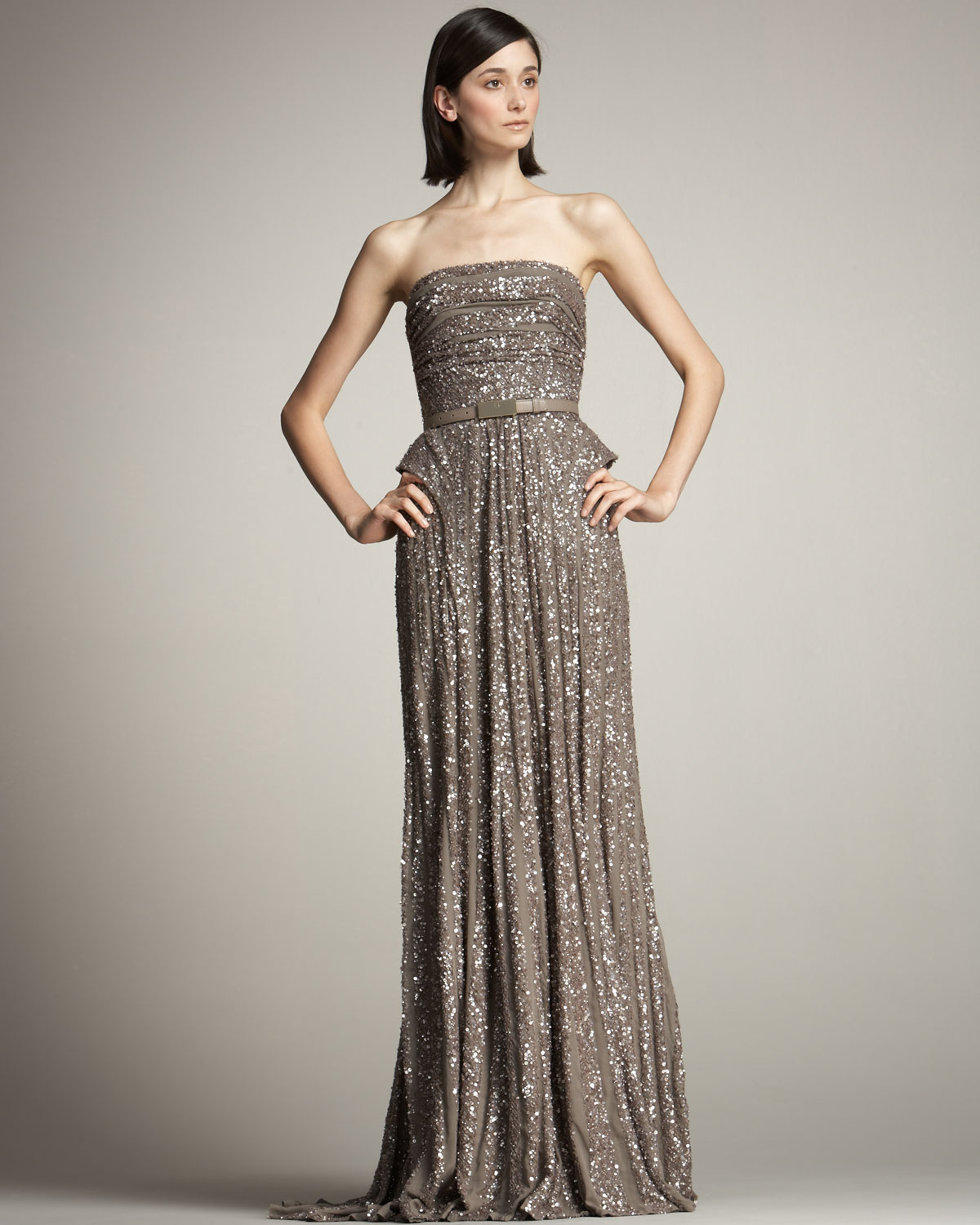 Elie saab Beaded Strapless Gown in Gray - Lyst