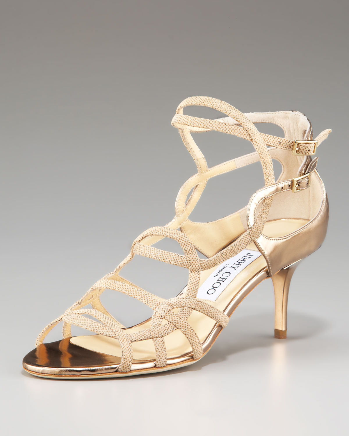 Jimmy choo Strappy Low-heel Sandal in Natural  Lyst