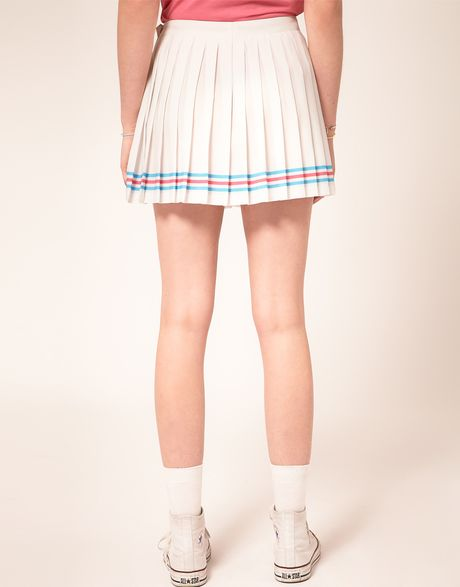 lacoste l ive pleated tennis skirt in white lyst