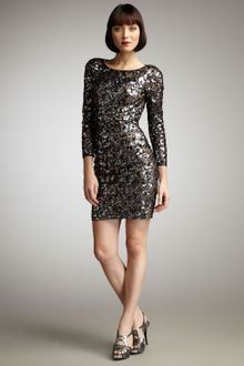 Long Sleeve Shift Dress on Aqua Split Sleeve Sequined Dress In Gold   Lyst