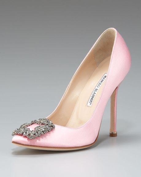 Manolo blahnik hangisi satin pump light pink in pink for Shoe designer manolo blahnik