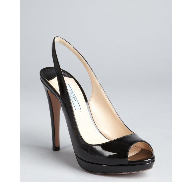 Lyst Prada Black Patent Leather Peep Toe Slingback Pumps