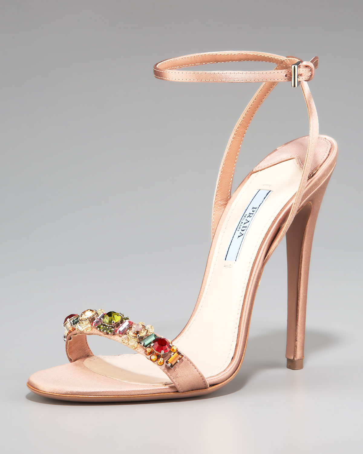 9c66c7e47 Prada Silk Jeweled Ankle-strap Sandal in Natural - Lyst