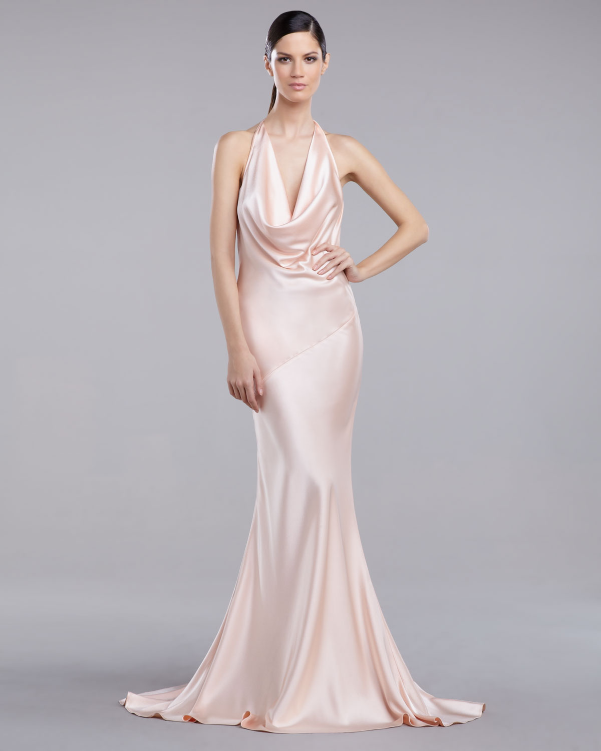 St john liquid satin bias cut gown in pink lyst gallery ombrellifo Gallery