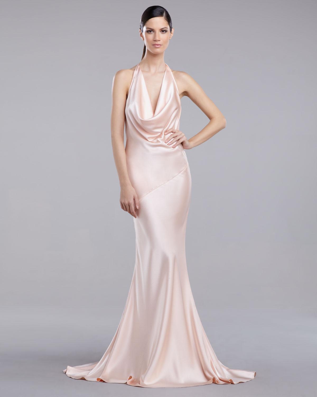 Lyst - St. John Liquid Satin Bias-Cut Gown in Pink