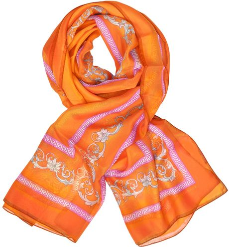 Versace Floral Printed Chiffon Silk Stole in Orange (floral) - Lyst