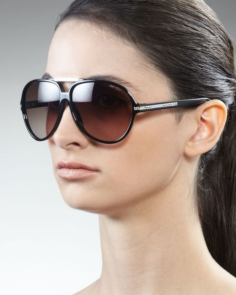 Jimmy Choo Luisa Aviator Sunglasses in Black (shiny black) - Lyst