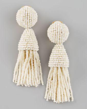 $345. Oscar de la Renta.  Beaded Short Tassel Earrings.  155.