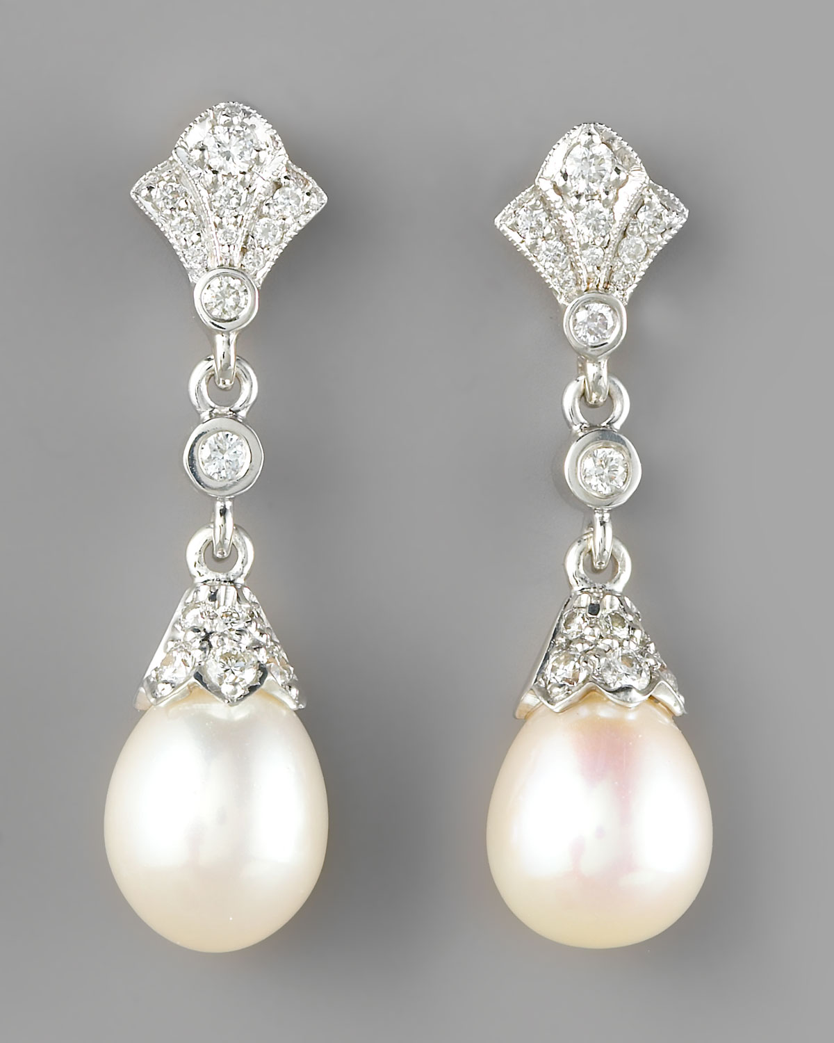 penny preville diamond pearl drop earrings in white lyst. Black Bedroom Furniture Sets. Home Design Ideas