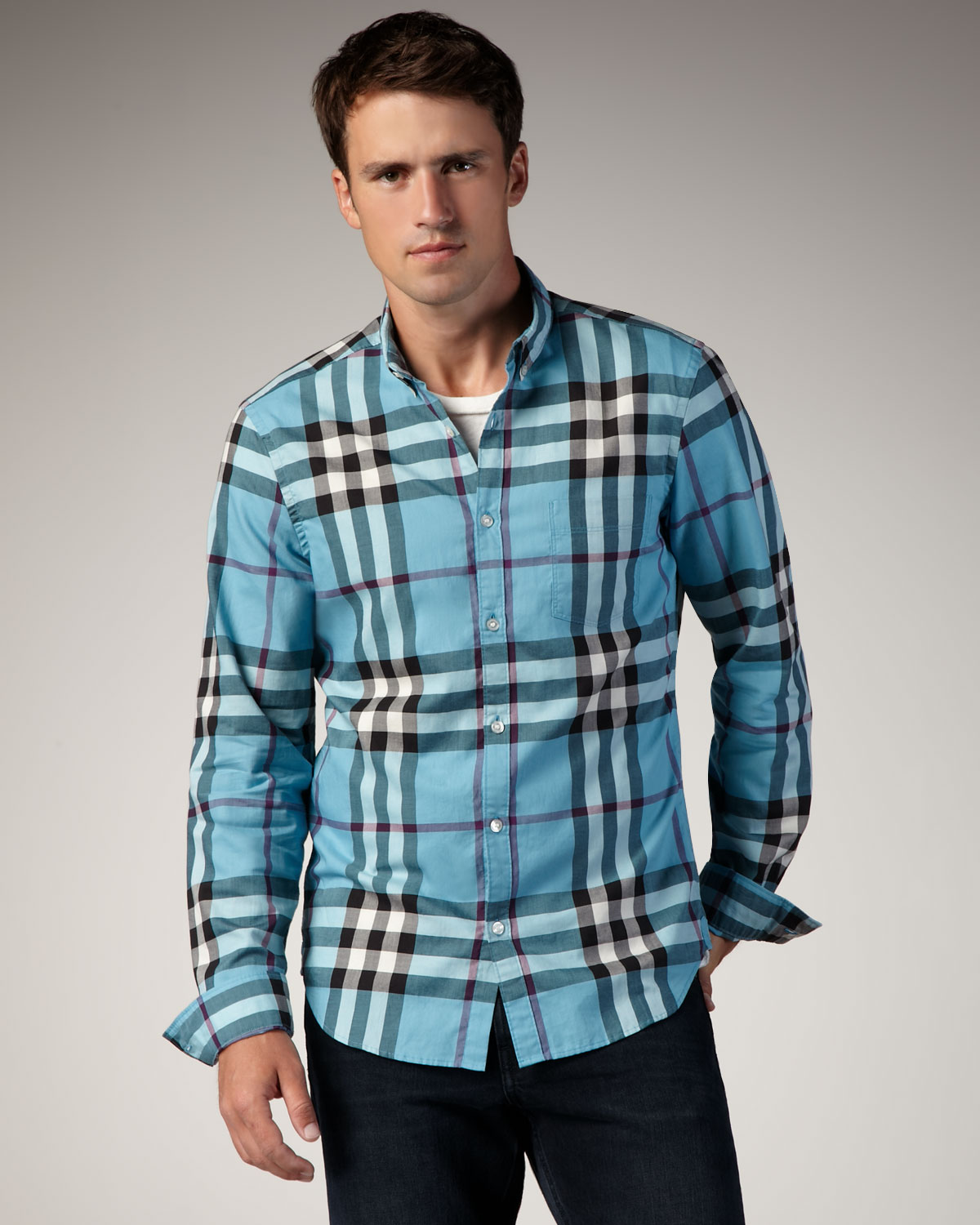 Burberry brit Check Button-down Sport Shirt, Kingfisher in Blue ...