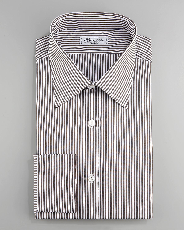 Lyst Charvet Striped Dress Shirt Brown In Brown For Men