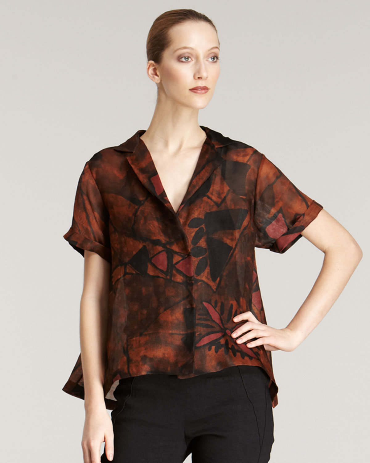 Donna karan new york silk gazar shirt in orange for Donna karen new york